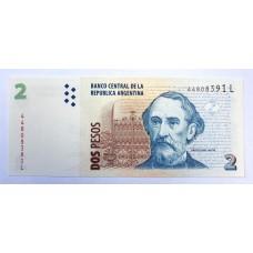 Аргентина, 2 песо, 2002г. ( 2-й тип подписи ).