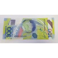 100 рублей, 2018г. Футбол, серия АА красивый номер 222