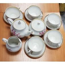Фарфор чайный набор Дулево, СССР. чайная пара 4 комплекта + Сахарница+молочник