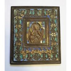 """Икона - """" Ангел Благое Молчание """" с избранными святыми, 6цв. эмали., XIXв."""