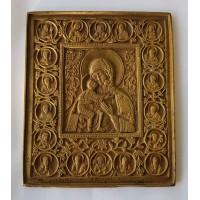"""Икона - """" Богородица Феодоровская """" с избранными святыми, без эмали., XIXв."""