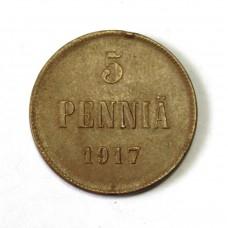 Русско-Финские 5 пенни, 1917г. орёл без короны.
