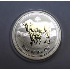 Австралия, 1$, 2009г. Год Быка, позолота