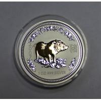 Австралия, 1$, 2007г. Год Свиньи, позолота