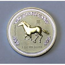 Австралия, 1$, 2002г. Год Лошади, позолота