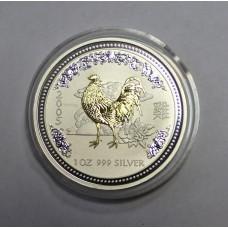 Австралия, 1$, 2005г. Год Петуха, позолота