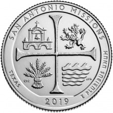 США, 25ц.,  SAN ANTONIO MISSIONS ( нацпарк № 49, штат Техас ), 2019г.