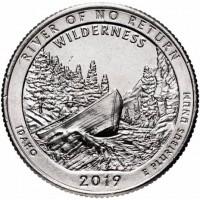 США, 25ц.,  RIVER OF NO RETURN ( нацпарк № 50, штат Айдахо ), 2019г.