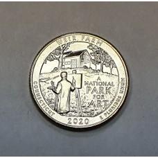 США, 25ц.,  WEIR FARM ( нацпарк № 52, штат Коннектикут ), 2020г.