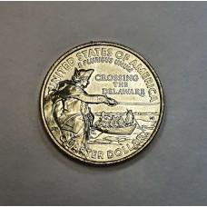 США, 25ц.,  Джордж Вашингтон форсирует реку Делавэр, 2021г.