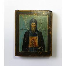 """Икона - """" Нил Столбенский Чудотворец с иконой """" , XIXв."""