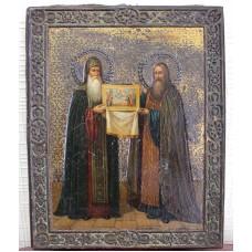 """Икона - """" Антоний и Феодосий Печерские с иконой """", нач. XX в."""