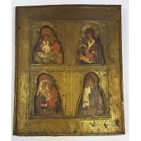 """Икона - """" Четырёхчастная Богородицы """". XIX век."""