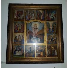 """Икона большая - """" Воскресение Христово с Житием """", XIXв. 1893г. храмовая"""