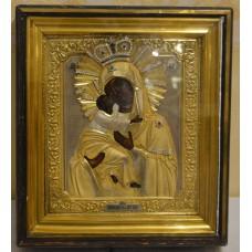 Икона - Владимирская Богородица, оклад серебро 84 мастер Сергей Жаров, начало XX века.