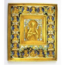 """Икона - """" Ангел Благое Молчание """" с избранными святыми, XIXв."""