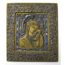 """Икона - """" Казанская Богородица """", 1 цв. эмали, XIXв."""