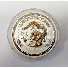 Австралия, 1$, 2000г. Год Дракона, позолота