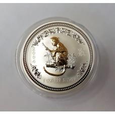 Австралия, 1$, 2004г. Год Обезьяны, позолота серебро 999 пробы унция